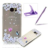 For Samsung Galaxy S7 Edge [Slim Fit] Clear Rubber Case,For Samsung Galaxy S7 Edge Ultra Thin Transparent Soft TPU Gel Back Case Cover,Herzzer Laconic [Colorful Printed] Soft Silicone Cover Visible Phone Skin Smooth Slim Shell Flexible Light Case Cover Scratch Resist Protection Protective TPU Bumper Jelly Case For Samsung Galaxy S7 Edge + 1 x Free Purple Cellphone Kickstand + 1 x Free Purple Stylus Pen - Butterfly Petals
