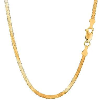c363264e7ec1c Amazon.com: 14k Yellow Gold Imperial Herringbone Chain Necklace, 3.0 ...
