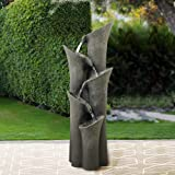 """BBabe Faux Stone LED Floor Fountain 39 2/5"""", Bell 5-Tier Waterfall Outdoor Fountain LED Illuminated Water Feature for…"""