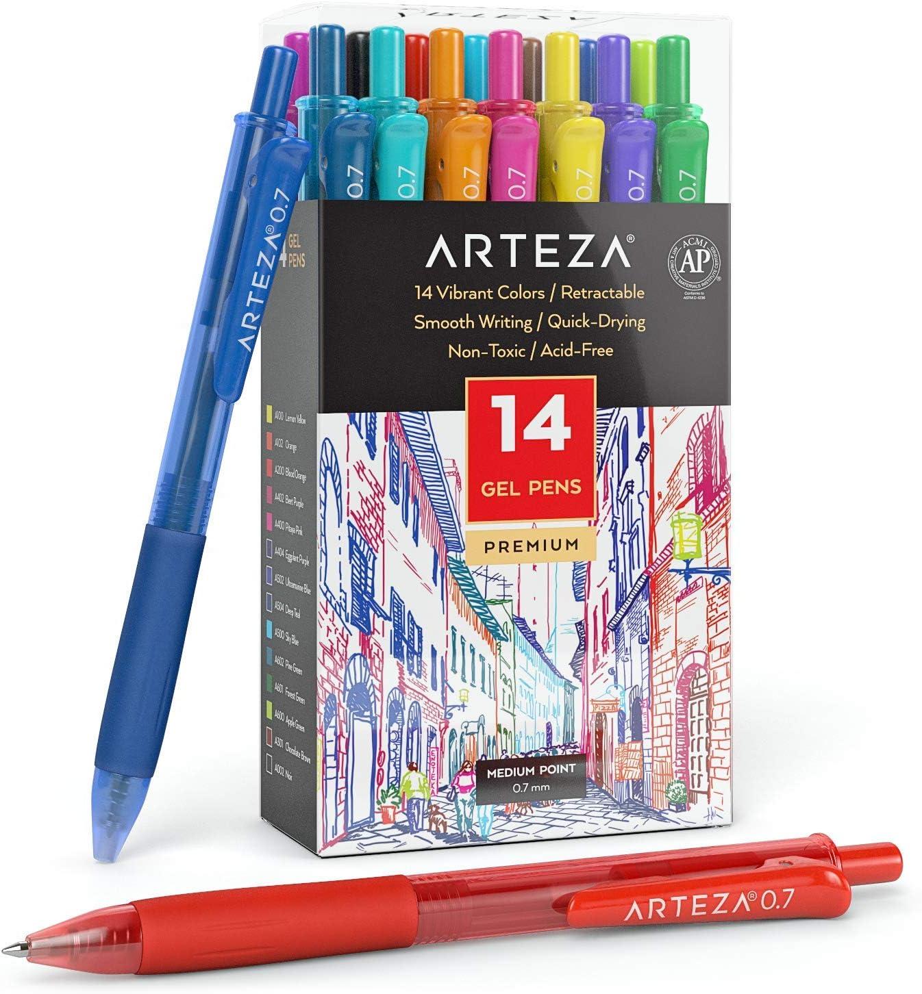 Arteza Bolígrafos de gel de colores, paquete de 14 tonos vivos diferentes, punta fina de 0.7 mm, 14 plumas de gel para escribir en tu diario, dibujar, hacer garabatos y tomar notas:
