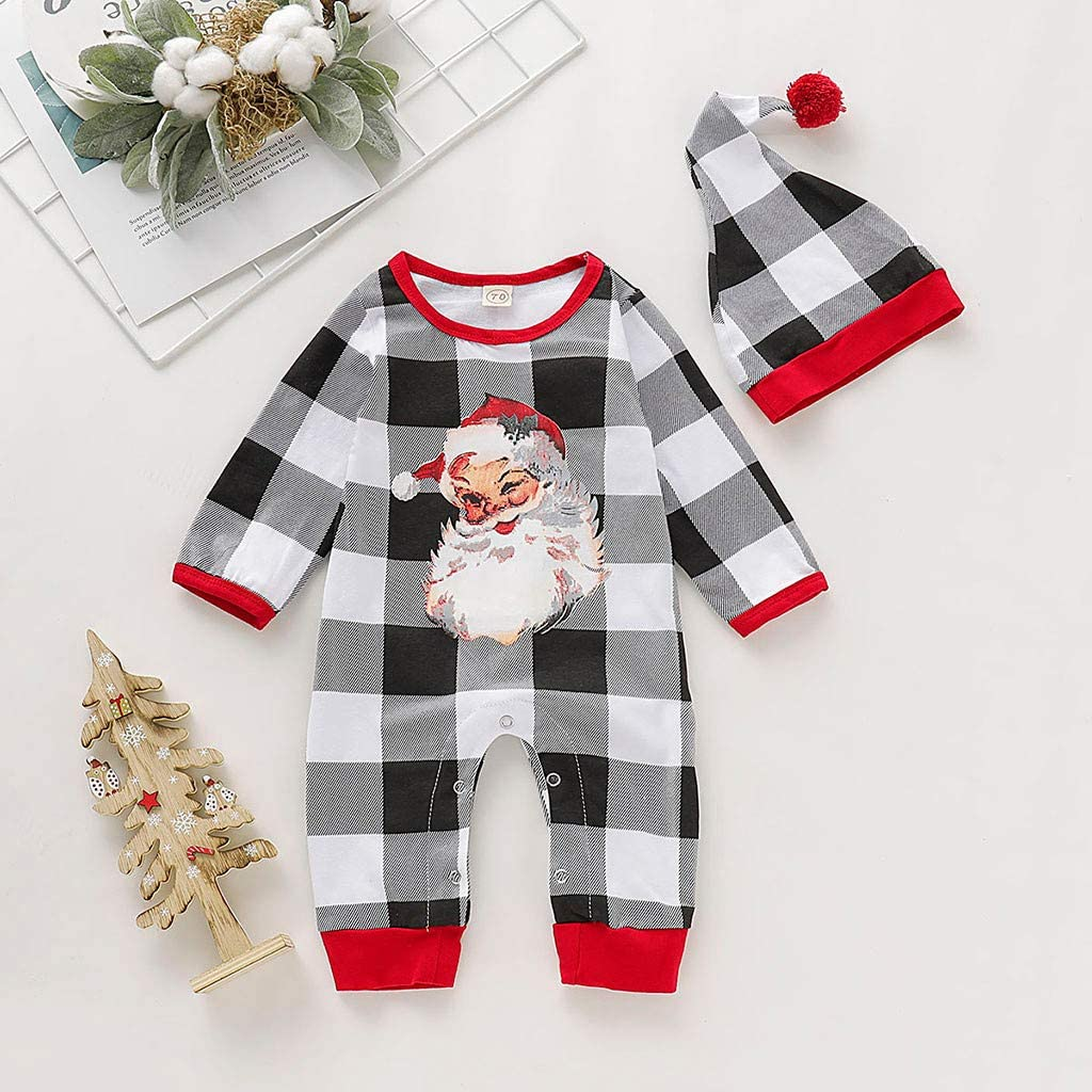 Hat Santa My First Christmas Party Clothes Set Xmas Toddler Newborn Baby Boy Girl White Long Sleeves Rompers Playsuit Outfits Pajamas 2Pcs Infant Romper