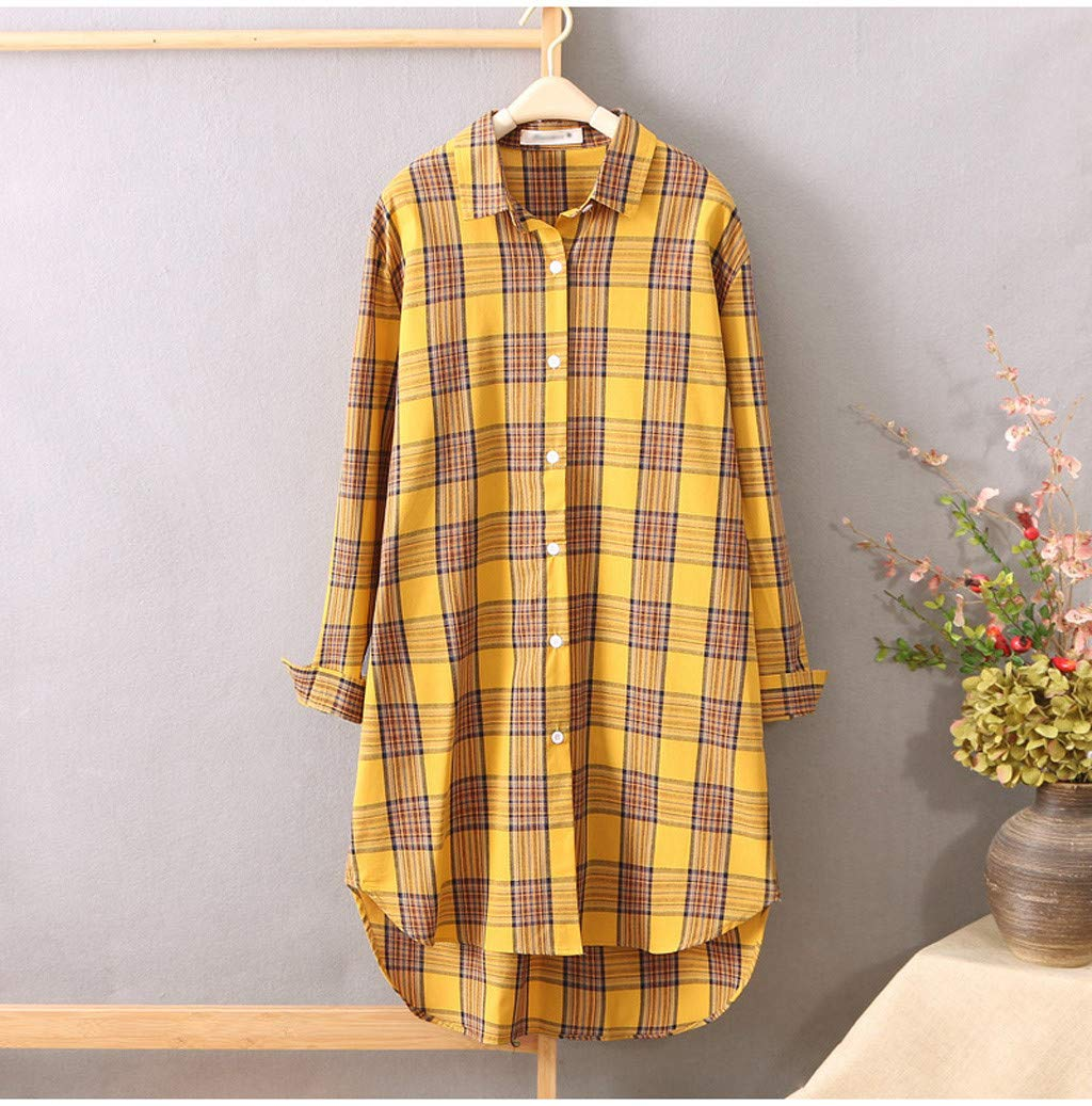 Womens Plaid Roll up Long Sleeve Jacket Blouse Button Down Shirts Loose Outfit Lightweight Cardigan Plus Size Duster Coat Fall Outwear Casual Suit
