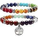 Jovivi 2pc 7 Chakras Yoga Meditation Healing Balancing Round Stone Beads Stretch Bracelet Set Mothers Day Valentines Gifts, with Gift Box