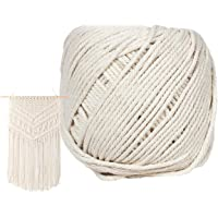 DIY Crafts Macrame Cord 3mm X 110m(about 120 yd) Natural Virgin Cotton Handmade Decorations Macrame Wall Hangings Plant Hanger Crocheting Bohemia Dream Catcher Knitting Soft Undyed Natural Color Rope