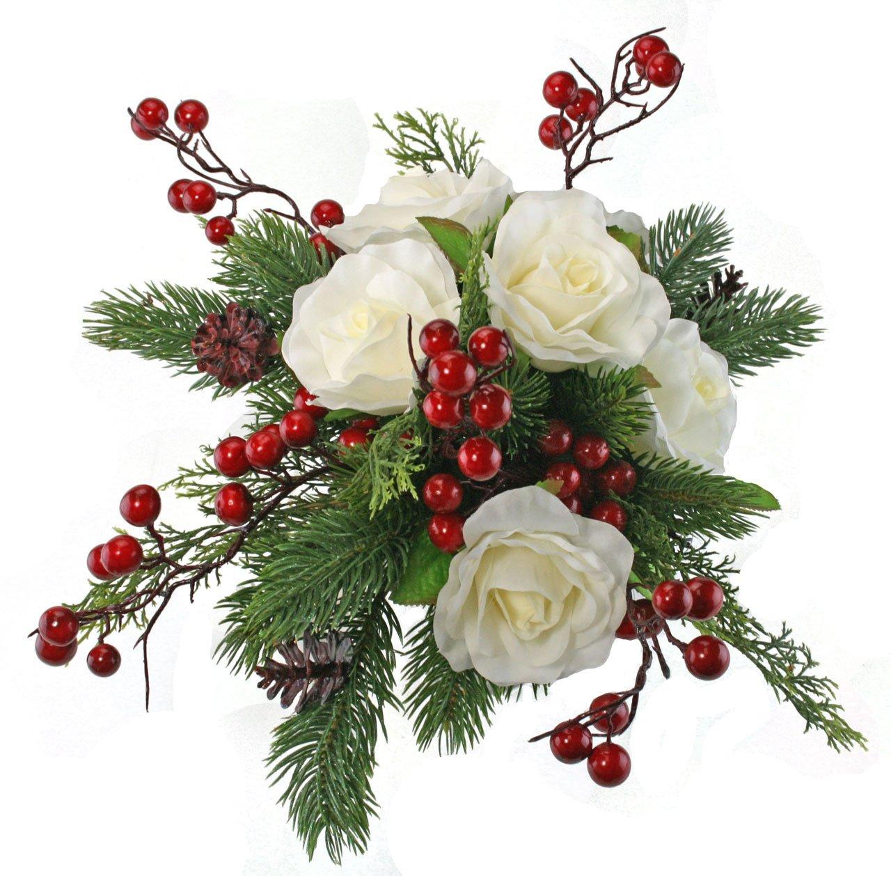 Amazon Winter Berry Rose Bridal Bouquet Silk Wedding Flower