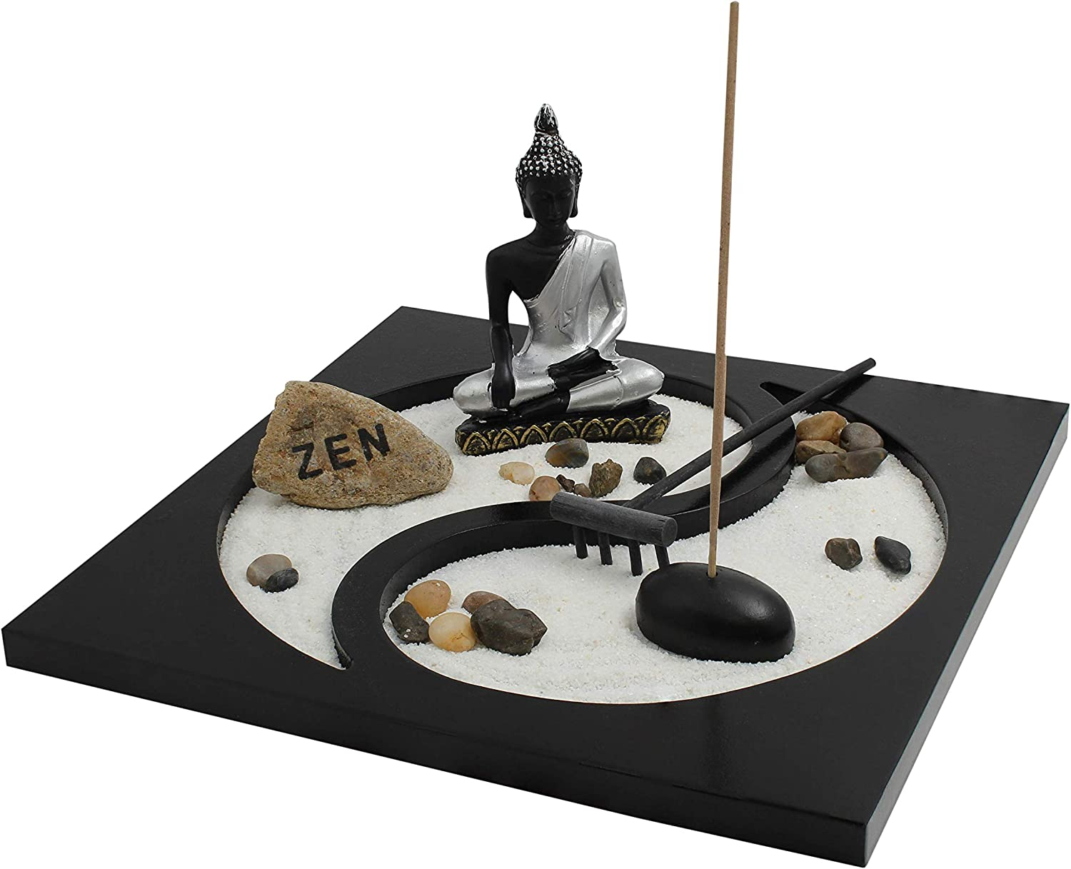 "Royal Brands Yin and Yang Zen Garden with Buddha, Rake, Sand and Rock Garden, and Incense Holder – Peace and Tranquility (9""x9""x6"")"