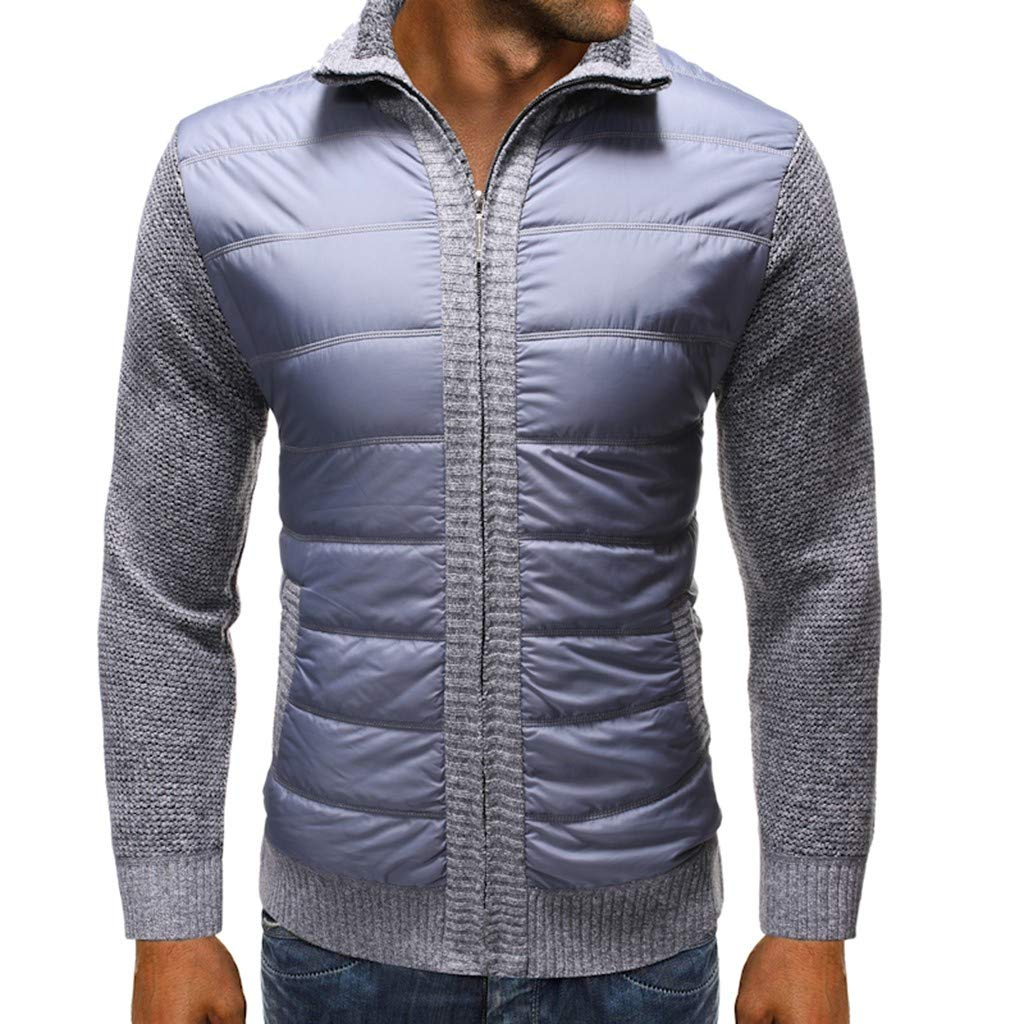 GREFER Outwear Mens Winter Warm Jackets - Casual Patchwork Full Zipper Sweater Jacket - Plus Size Coats with Pockets Gray