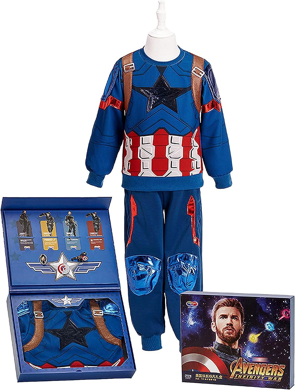 JIWEIRUN Niños Spiderman Iron Man Pullover Suit Niños Capitán América Chaqueta Abrigo Informal, Captain America-110cm