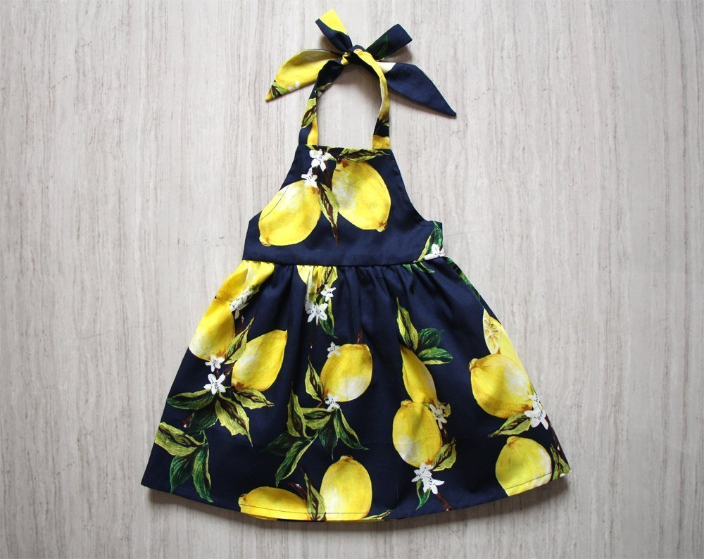 Lemon Navy Baby Girl Halter Dress Apron Dress Pinafore Girls Backless Dress