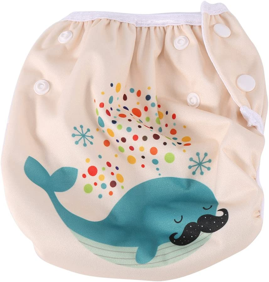 DY2 Baby Swim Diaper Fashionable Unisex Breathable Swim Diapers Reusable Waterproof Swimming Pool Pant with Snaps Training Pants for 3-15KG Baby
