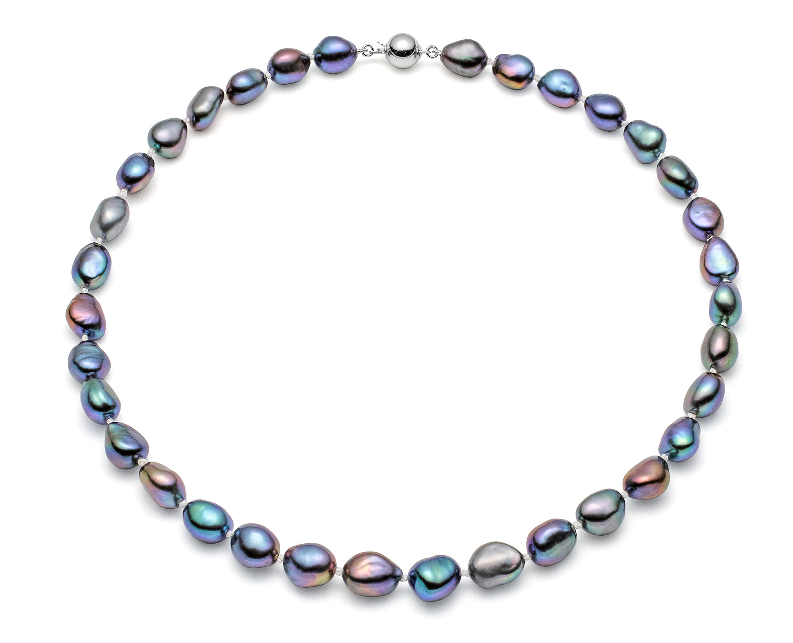 HinsonGayle AAA Handpicked 10-11mm Baroque Freshwater Cultured Pearl Necklace (Silver 18'')