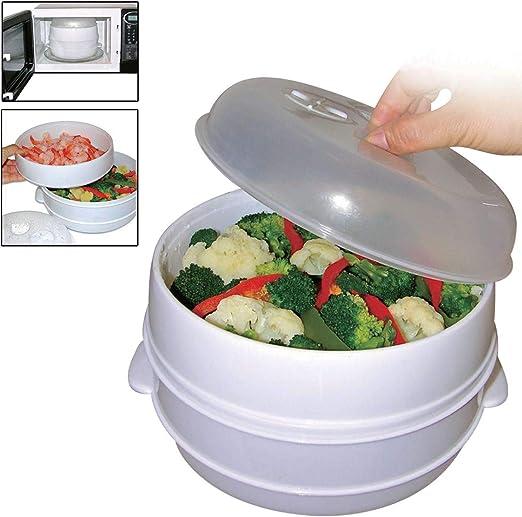 Olla de cocina de 2 niveles para microondas, verduras, pasta, sana ...