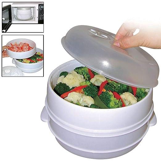 Olla de 2 niveles para microondas, vaporizador, verduras ...