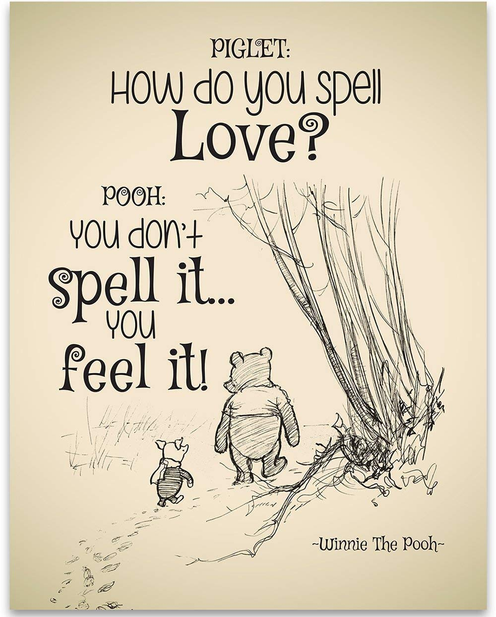 How Do You Spell Love? - Winnie The Pooh - 11x14 Unframed Art Print - Great Child/Boy/Girl/Nursery Room Decor