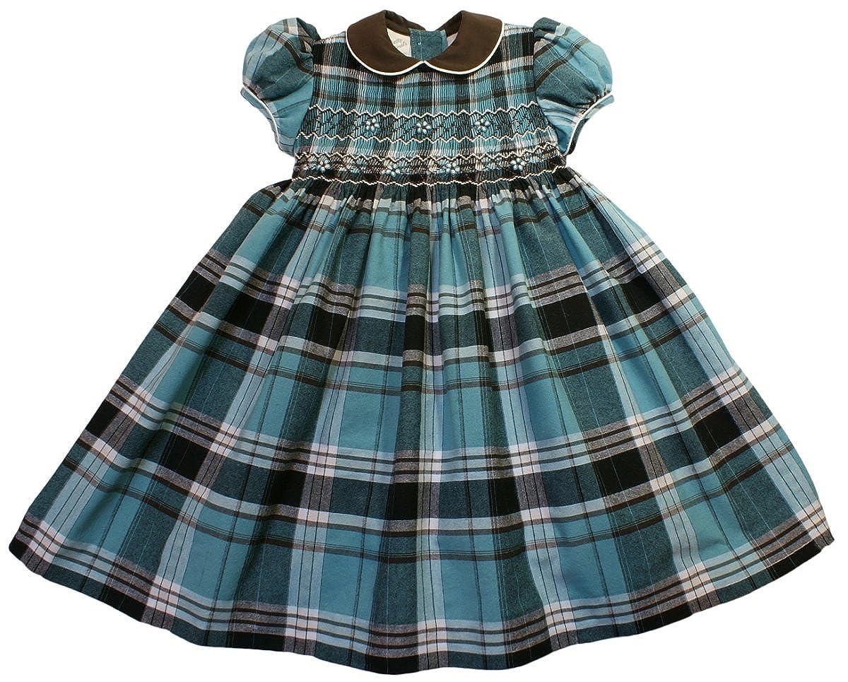 cabb12b42e6f8 Pretty Originals girls blue green check smocked dress 3 YEARS ...