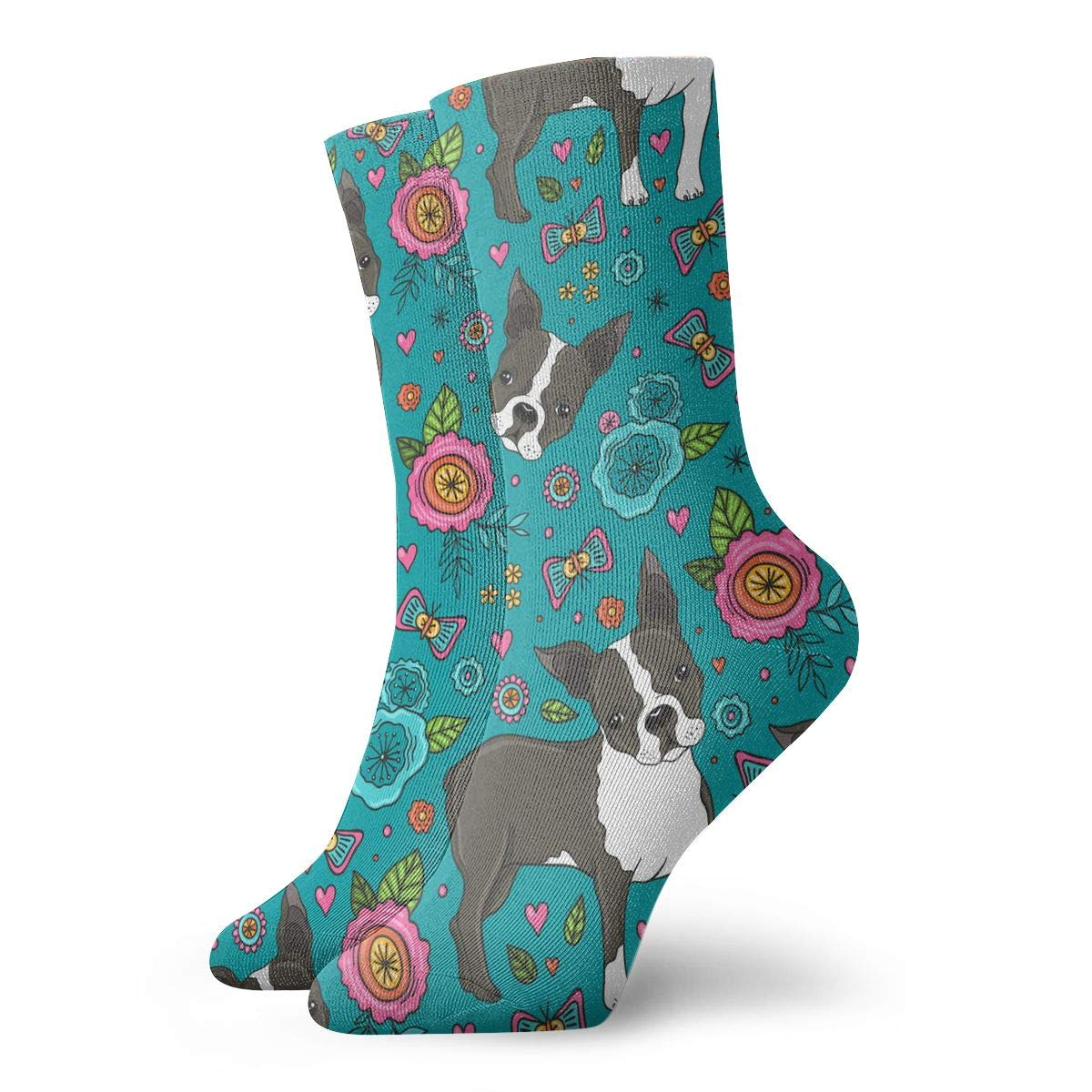 Women Men Boston Terrier And Beautiful Flowers2 Pattern Athletic Ankle Socks