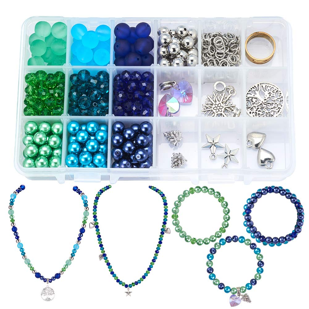 CDM product SUNNYCLUE 1 Box 450pcs Jewelry Making Starter Kit - Jewelry Making Supplies for Adults and Women,Jewelry Findings & Beads Kit & Tools for DIY Necklace Bracelet, Bluish Green big image