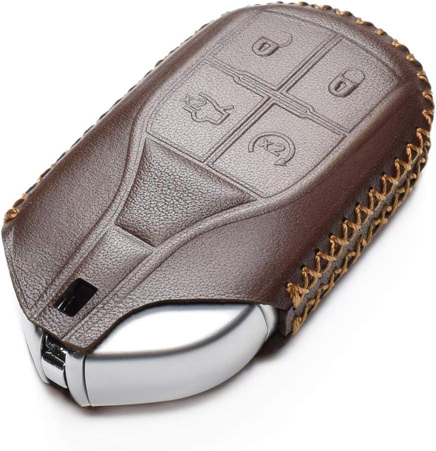 Vitodeco Genuine Leather Keyless Smart Key Fob Case Cover with Key Chain for Maserati Ghibli Quattroporte Levante Remote Start, Brown