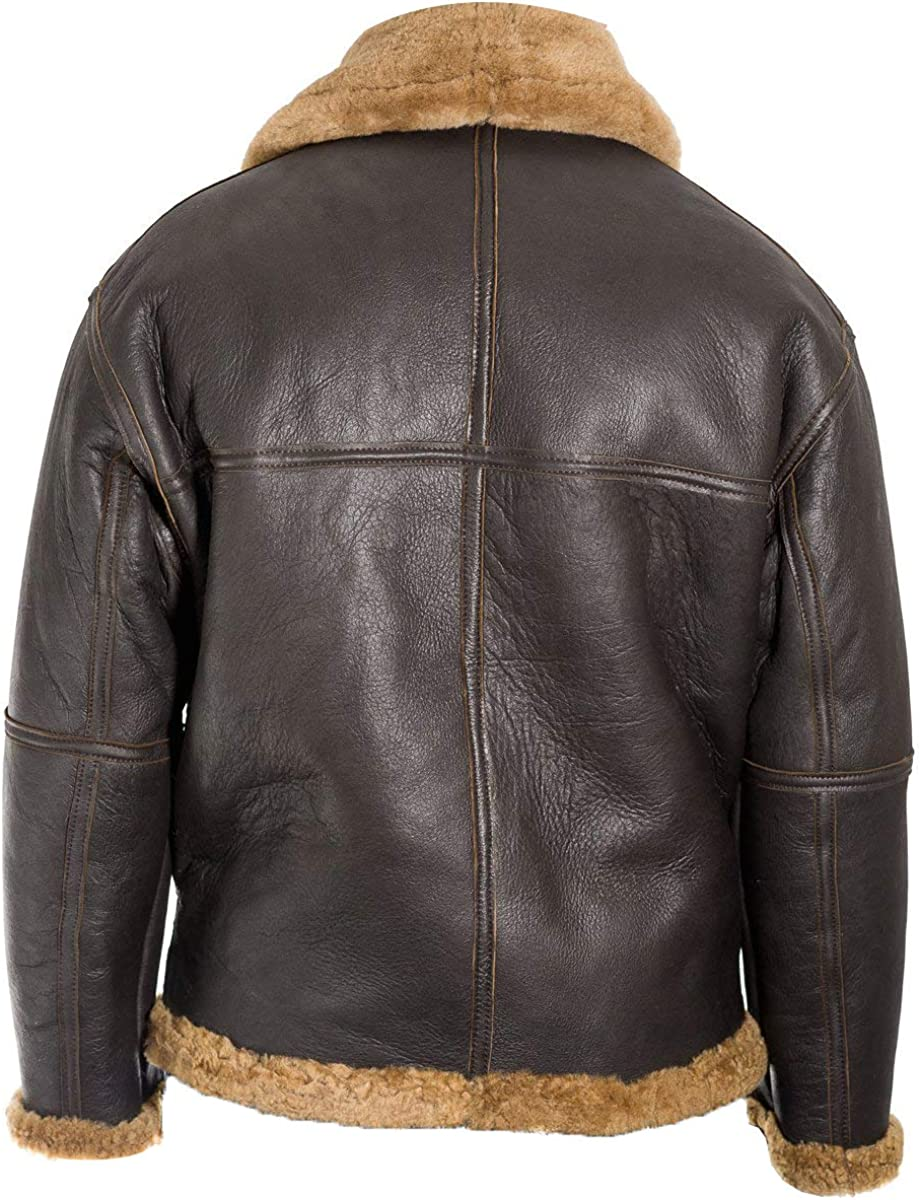 UGFashions Mens RAF B3 Shearling Aviator Pilot Ginger Sheepskin Brown Fur Bomber Leather Jacket