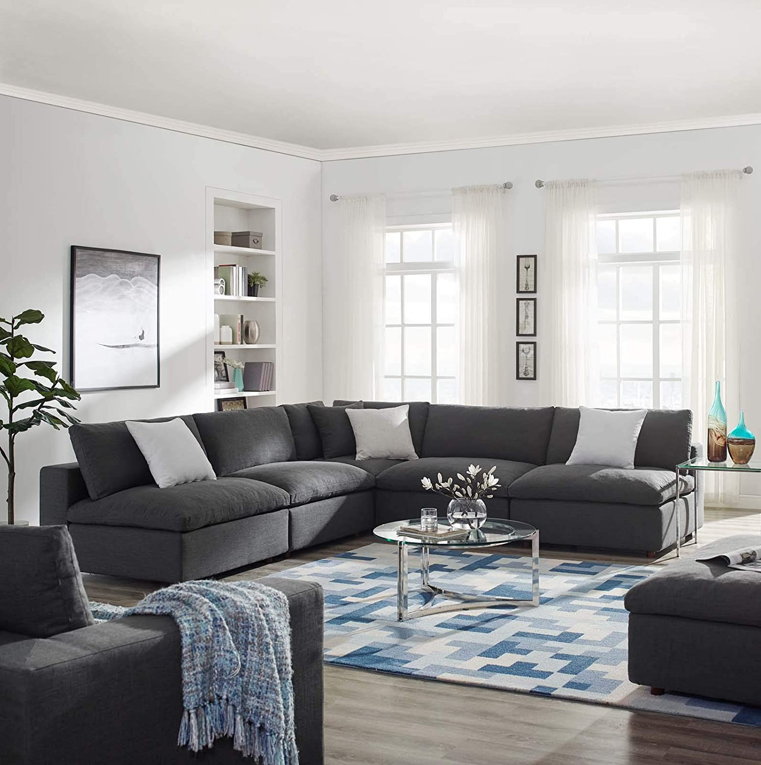 modway commix down filled overstuffed 5 piece sectional sofa set corner chair four armless chairs gray