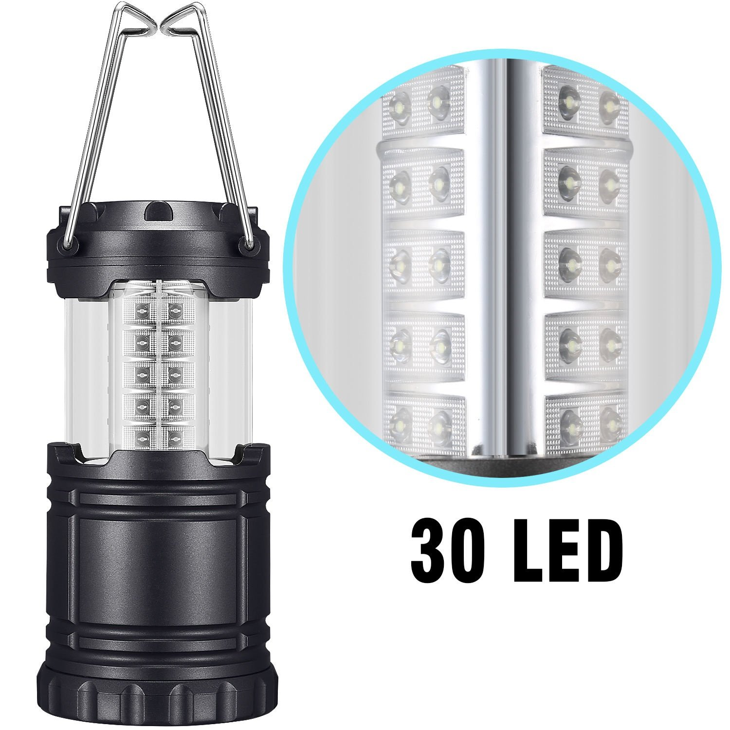 Begana Portable Camping Lantern Flashlights with 30 LED Bulbs - Restractable & Lightweight & Water Resistant Camping Light, Great for Hiking & Camping & Emergencies & Travel, Black by Begana (Image #1)