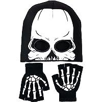 BOMJJOR Juego de guantes de esqueleto y gorro de punto con agujeros para los ojos, calavera de Halloween