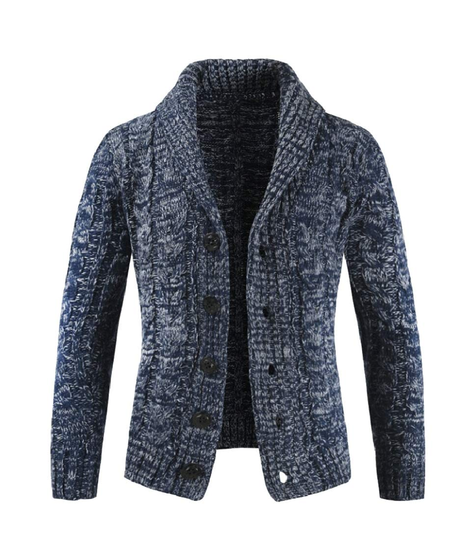Loveinus Mens Cable Knit Ribbed Sweater Shawl Collar Open Front Cardigan