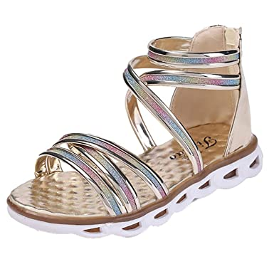 c2f138a12006a0 YIBLBOX Toddler Kids Girls Colorful Gladiator Flat Sandals Back Zip Strappy  Roman Summer Shoes  Amazon.co.uk  Clothing