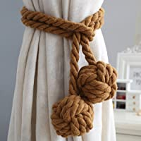One Pair Of Handmade Curtain Tie Backs, Tied Curtain Clip Tassel Cotton Rope Tie Ball Back Curtain Accessories