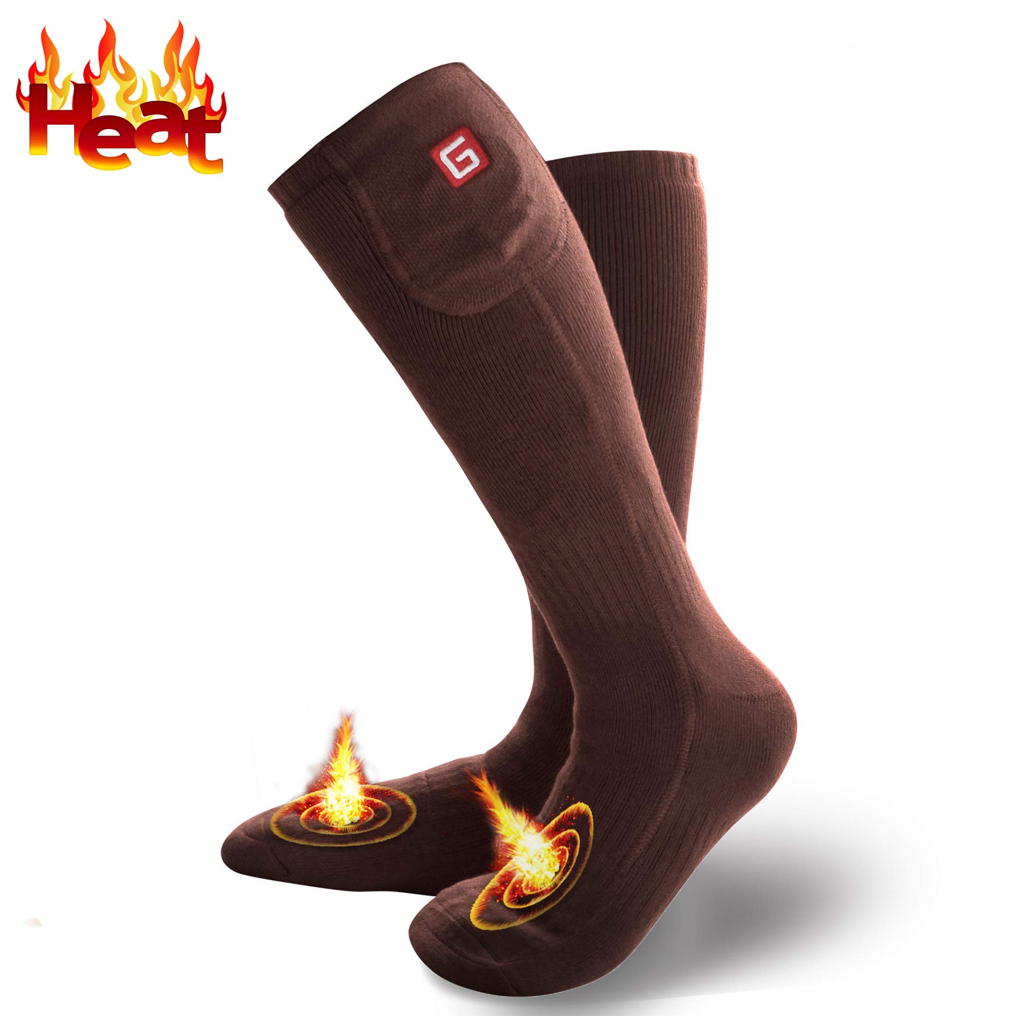 Electric Heated Socks for Men Thermal Socks Rechargeable Battery Foot Warmers Winter Ideal Presents for Men Women Perfect for Indoor Outdoor Sport Fishing/Hiking/Sleeping (Brown-M) by MMlove