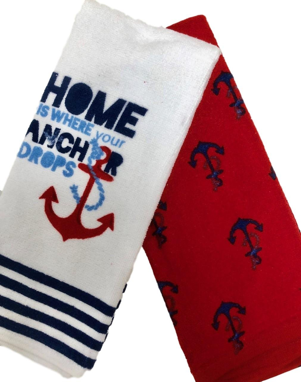 Bundle of Two Nautical Anchor Kitchen Towels, 100% Cotton (Red Anchor)
