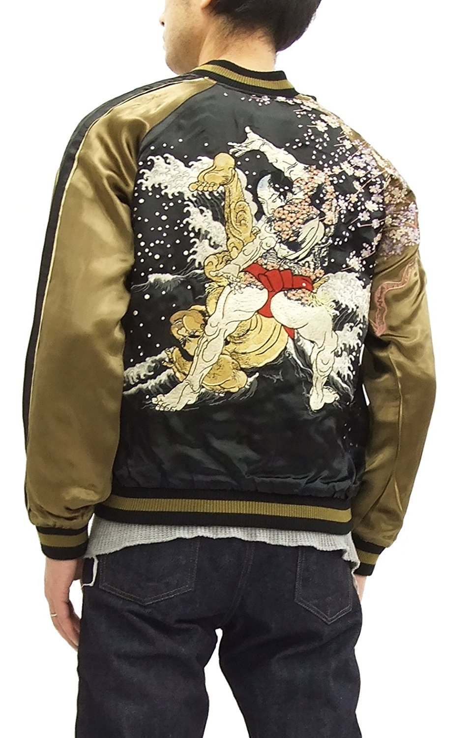 SCRIPT Japanese Souvenir Jacket Sumo Wrestling SSJ-515 Men's Sukajan (Medium) by SCRIPT