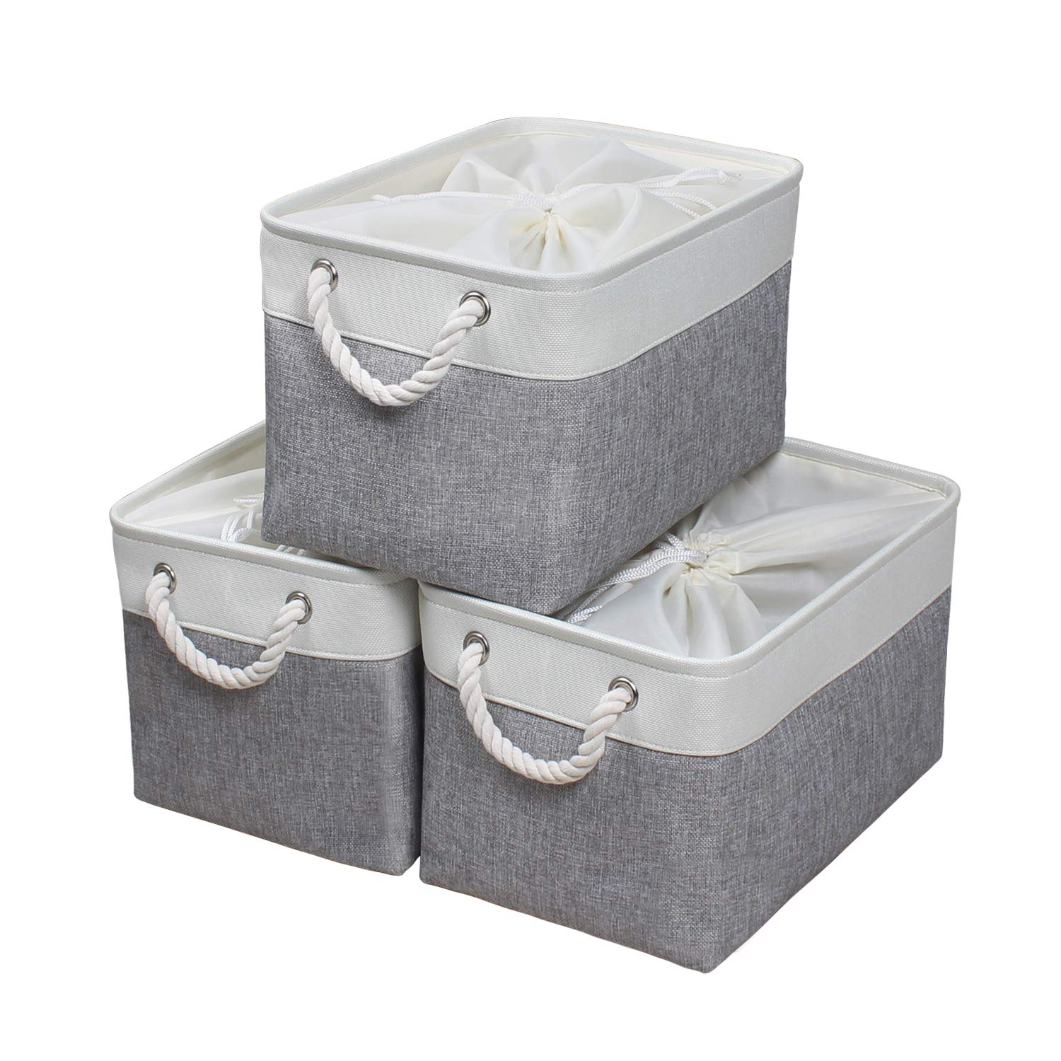 Blue KEEGH Large Fold-able Fabric Storage Bins 13x13 Collapsible Storage Cubes Organizer Basket 3-Pack with Sturdy Cotton Carry Handles for Home Closet Cube Shelves Organization