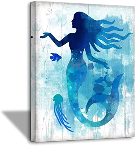 Amazon Com The Little Mermaid Bathroom Pictures Gallery Wall Decor For Girls Bedroom Bathroom Decor Modern Home Artwork For Walls Watercolor Canvas Framed Wall Art For Bedroom Kitchen Wall Decoration Size 12x16 Posters