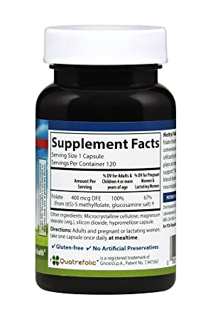 Amazon.com: Carlson Methyl Folate 400 mcg, Quatrefolic, Prenatal Support, 60 Capsules: Health & Personal Care