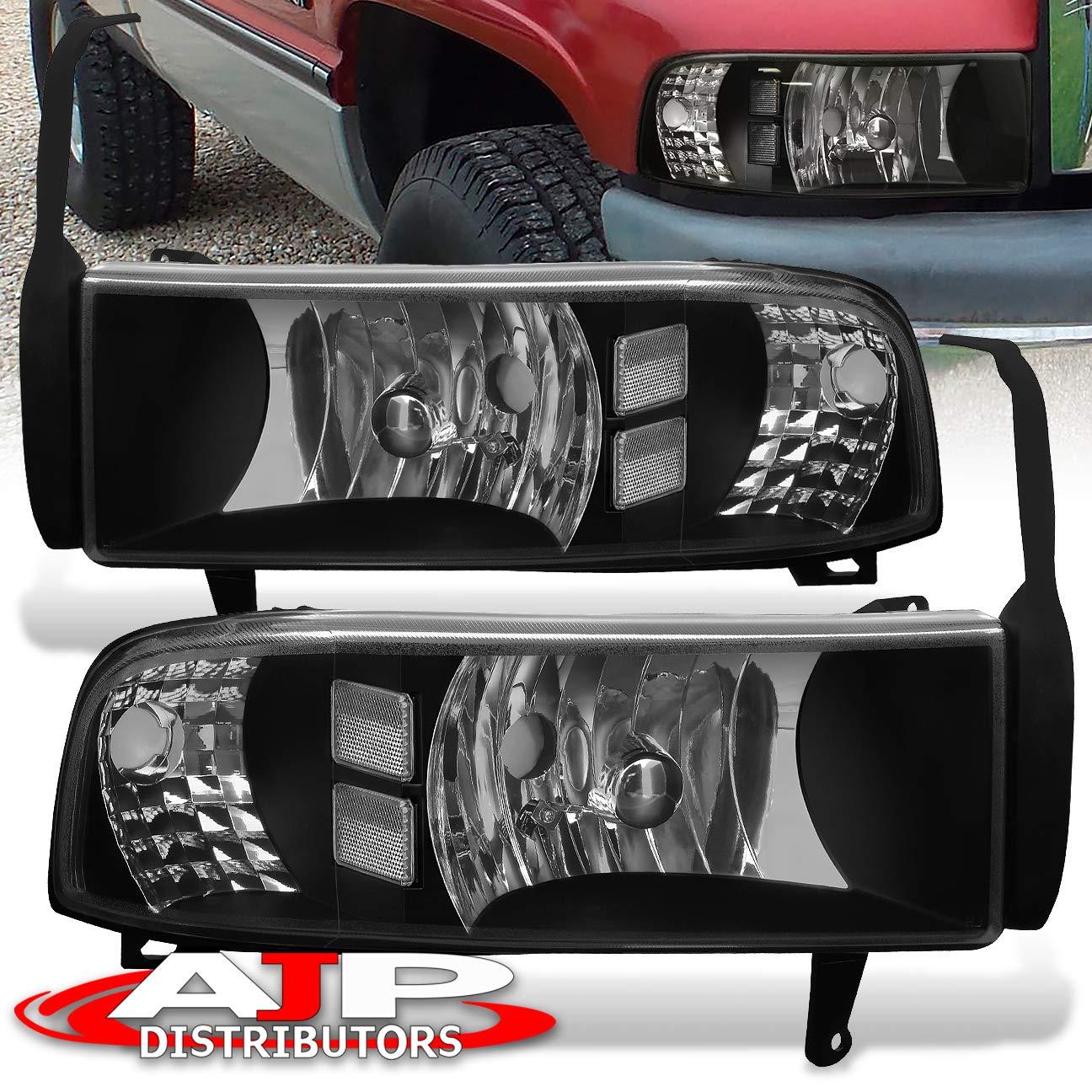 AJP Distributors Headlights Lights Lamps For Dodge Ram 1500 2500 3500 1994 1995 1996 1997 1998 1999 2000 2001 2002 94 95 96 97 98 99 00 01 02 (Black Housing Clear Lens Clear Reflector)