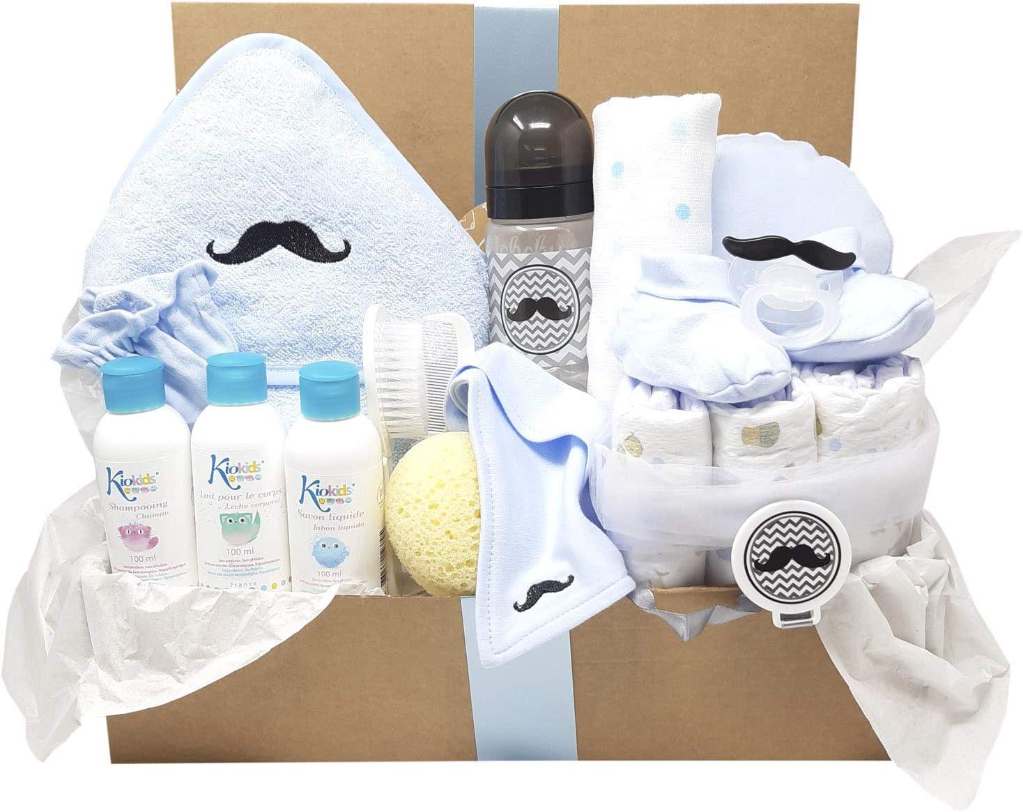 Mababyshop - Cesta para bebé Happy Kids, original regalo para bebés con divertidos labios y bigotes que lleva capa de baño, cepillo y peine, gorrito, patucos y productos de aseo de bebé… (Bigote)