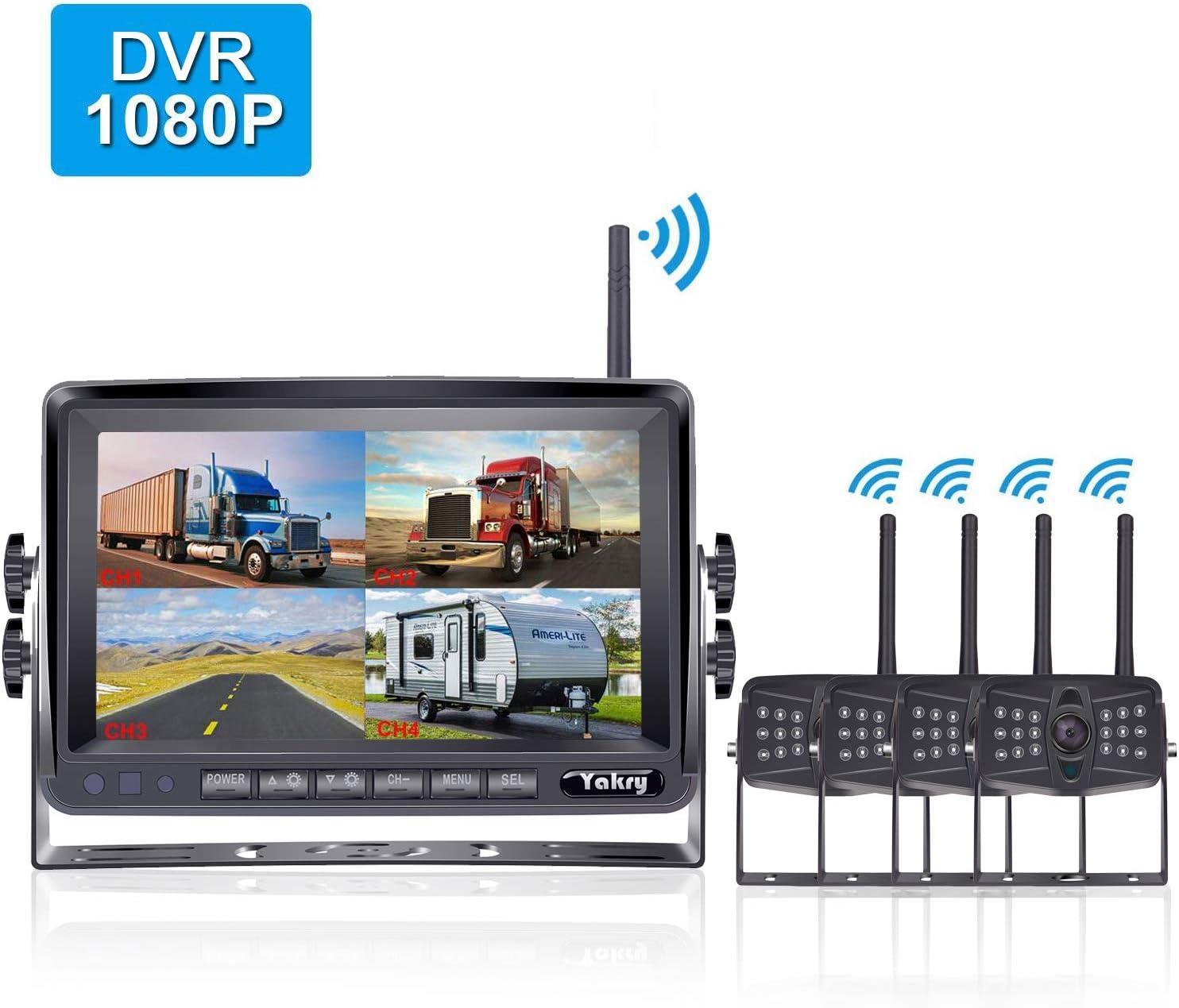Yakry YA27S HD 1080P Digital Wireless 4 Backup Camera for RVs/Trailers/Trucks/Motorhomes/5th Wheels 7''Monitor with Highway Monitoring System IP69K Waterproof Super Night Vision