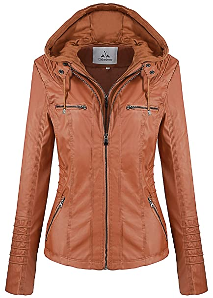 8c1269a00 Showlovein Women Hooded Faux Leather Jacket Hat Detachable Motorcycle Jacket