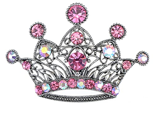 Amazon.com  Alilang Silvery Tone Pink Colored Rhinestones Princess ... 293dcb46feae