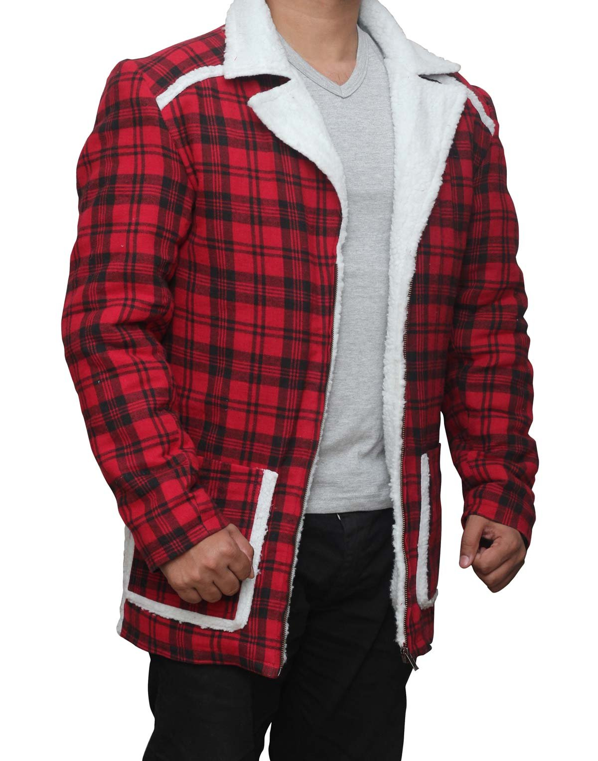 Deadpool Ryan Reynolds Red cotton flannel Shearling Jacket 3XL by fjackets (Image #3)