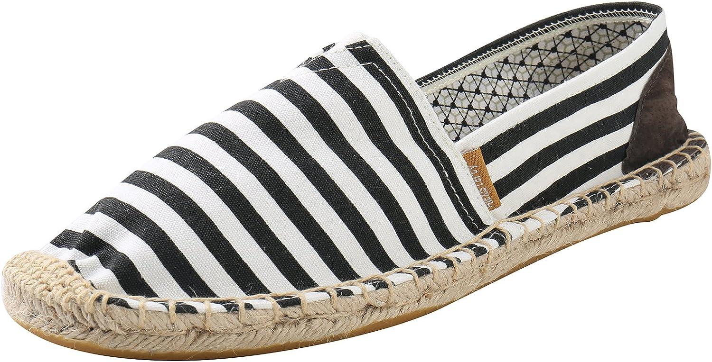 Alexis Leroy Mens Summer Classic Stripe Canvas Flat Espadrilles
