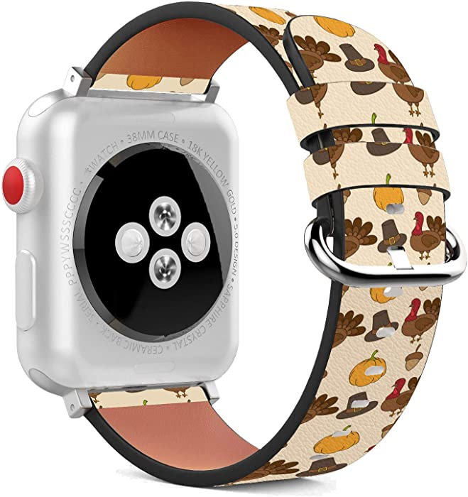 Compatible with Apple Watch - 38mm / 40mm (Serie 5,4,3,2,1) Leather Wristband Bracelet with Stainless Steel Clasp and Adapters - Thanksgiving Turkey