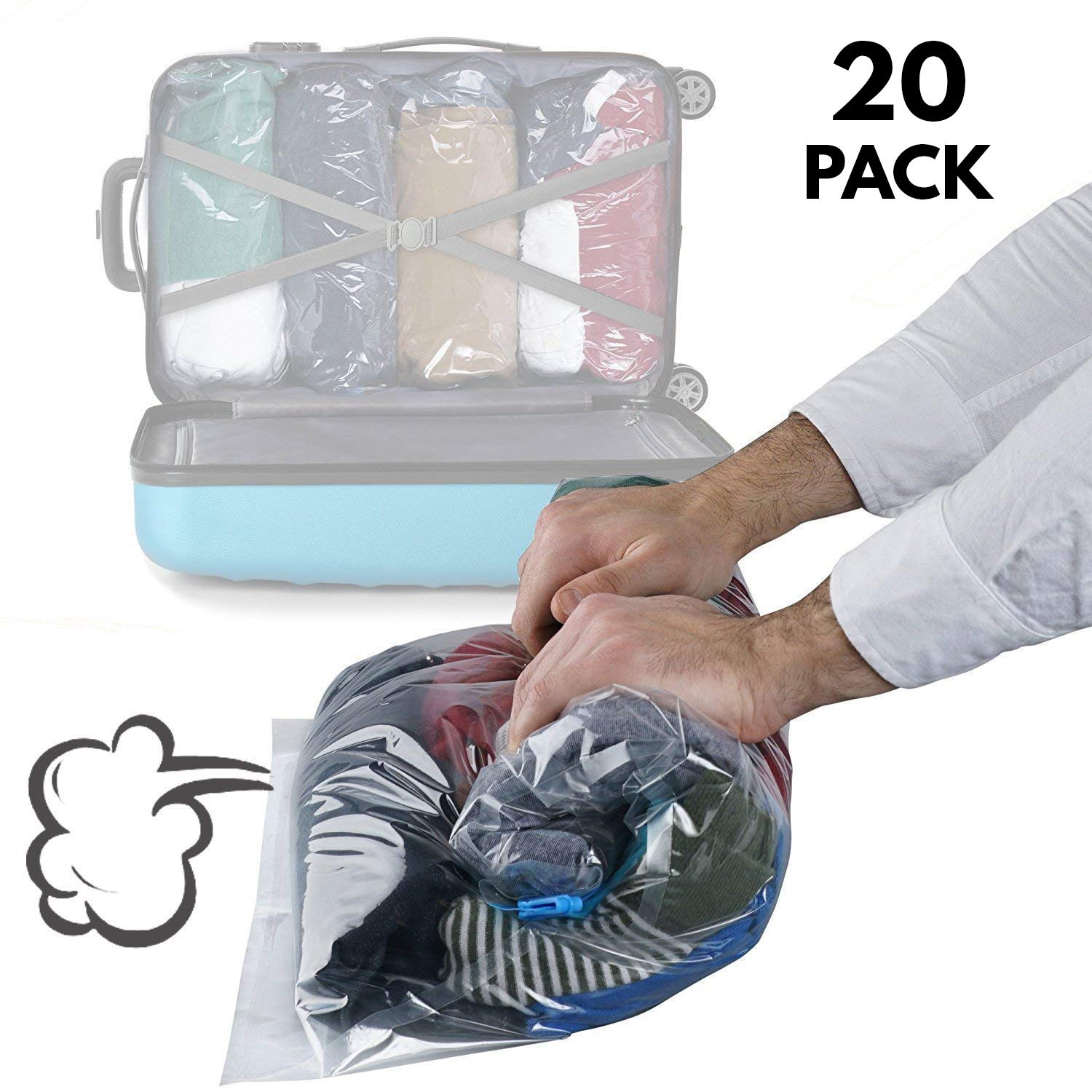 20 Pack Space Savers – Hand Rolled Double Zipper Vacuum Compression Packing and Storage Bags – Perfect Waterproof Space Saving Solution for Travel (No Pump Needed!)