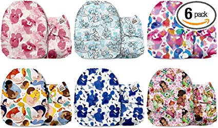 Mama Koala One Size Baby Washable Reusable Pocket Cloth Diapers Animals Christmas Eve 6 Pack with 6 One Size Microfiber Inserts