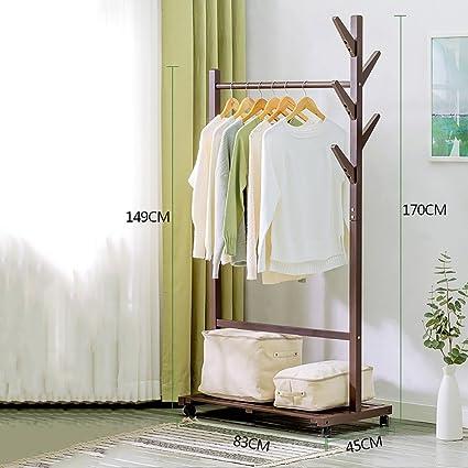 LXSnail Solid Wood Coat Rack, Floor Standing Simple Clothes Rack,  Minimalist Modern Living