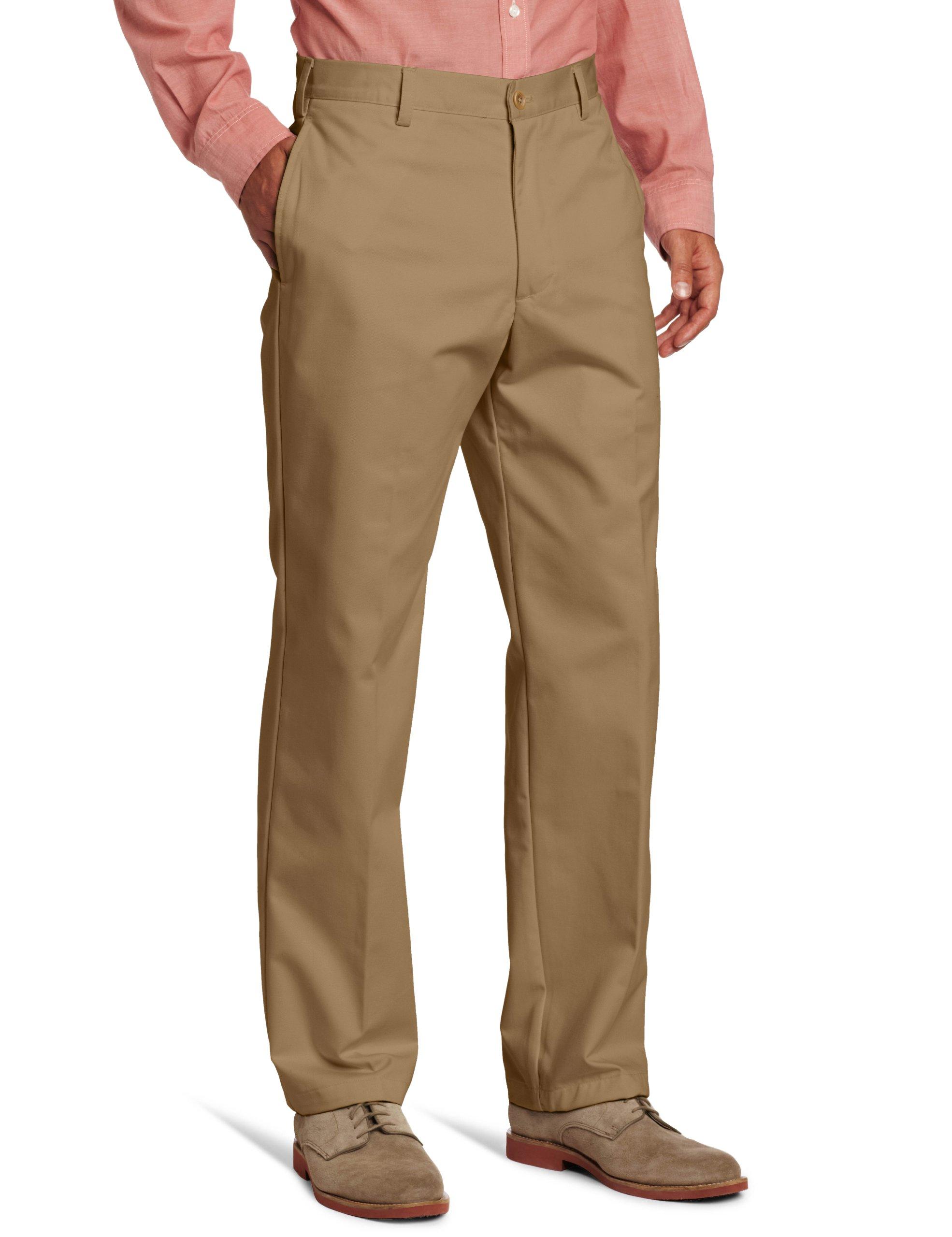 IZOD Men's American Chino Flat Front Pant, English Khaki, 36W x 32L
