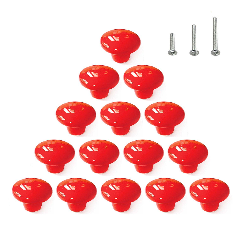 15PCS Red Glossy Ceramic Knobs Round Cabinet Dresser Pulls Door Handles Cupboard Wardrobe Drawer, Dia. 1.5 inch