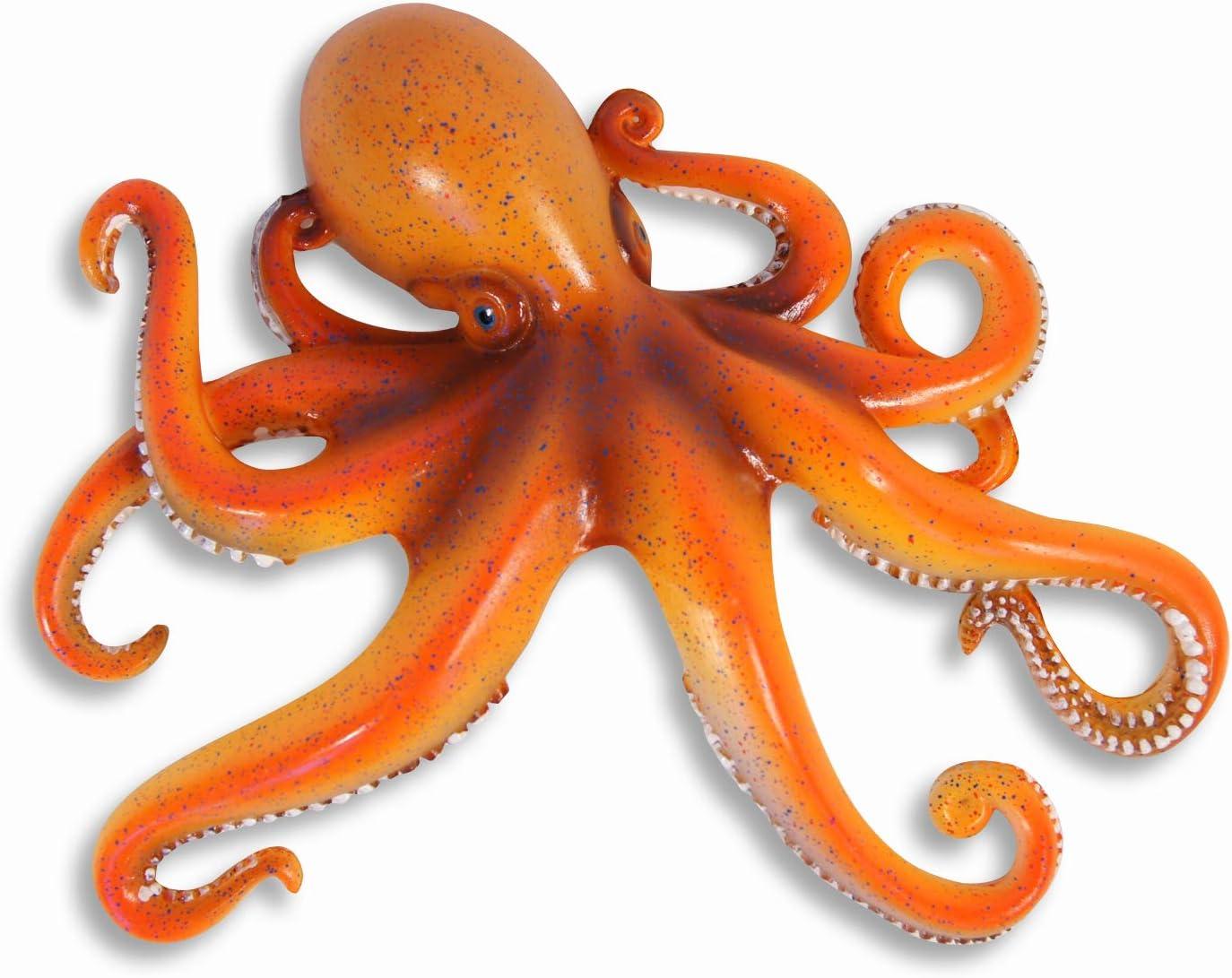 "LX Handpainted Octopus Wall Mount Decor Plaque 8"" Orange"