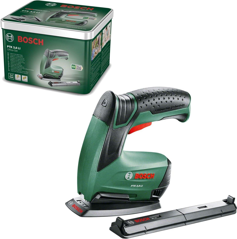 Bosch DIY Tools Bosch 0603968202 PTK 3,6 LI Office Set - Grapadora de papel y folletos (batería integrada, 3,6 V, juego de grapadora, 30 pulsaciones/min, en caja metálica), multicolor